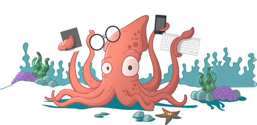 A cartoon squid holding a tablet, phone, keyboard, and taped-up glasses in his tentacles